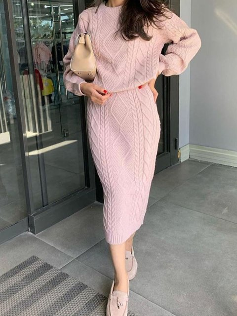 Women Drop Shoulder Tops Shift Skirts Knitted Suits
