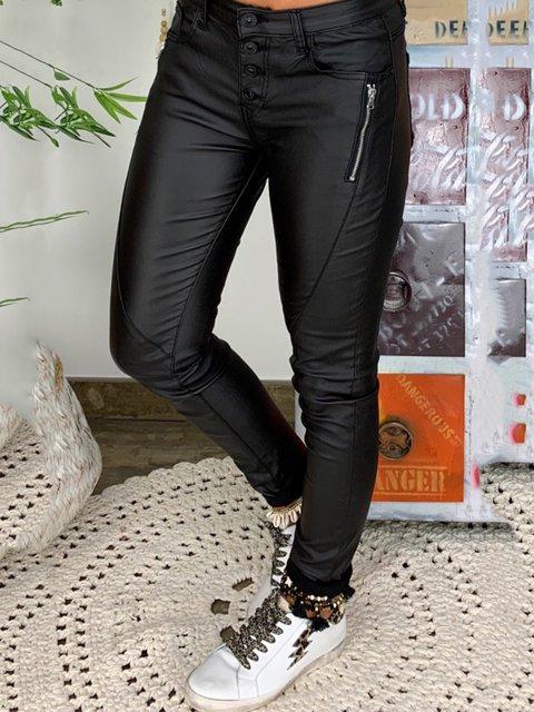 Women Faux Leather Buttoned Black Pants