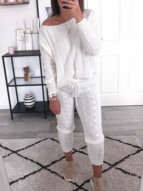 Women Solid Long Sleeves Knitted Casual Suits