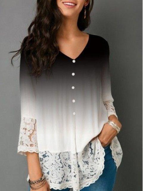 Ombre/tie-Dye Half Sleeve V Neck Shirts & Tops