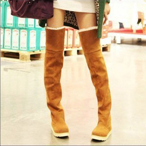 Winter Thigh-High Snow Boots Flat Heel Fur Lined Warm Ovet The Knee Boots