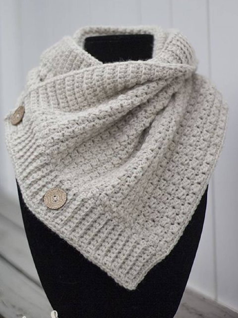 Light Gray Buttoned Knitted Casual Scarves & Shawls