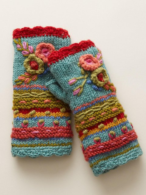 Winter Casual Knit Gloves Handwarmers Cute Flower