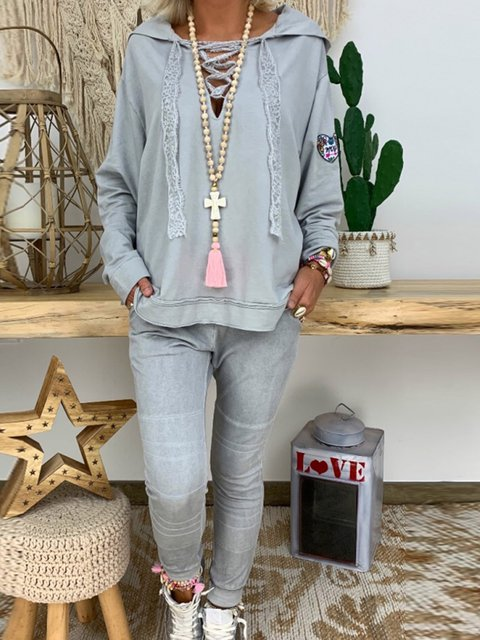 Plus Size Gray Hoodie Cotton Long Sleeve Suits