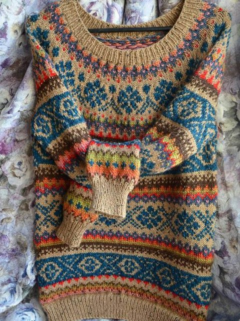 Plus size Knitted Cotton Boho Tribal Shirts & Tops