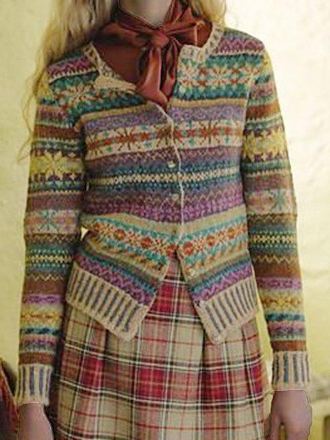 Multicolor Floral Vintage Buttoned Outerwear