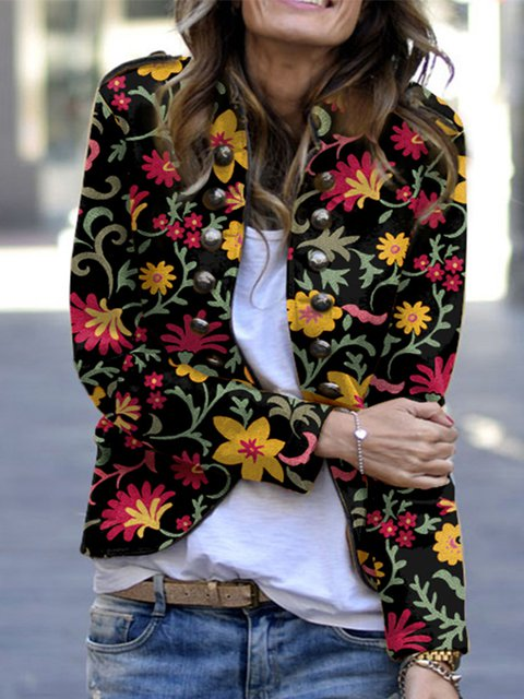 Stylish printed button-down slim jacket