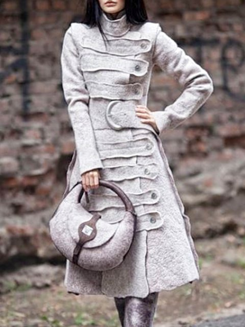 Plus size  Buttoned Vintage Outerwear