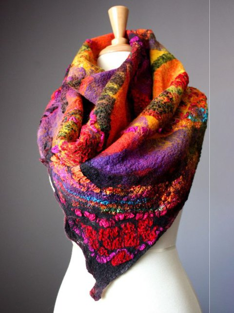 Women Polyester Winter Holiday Scarves