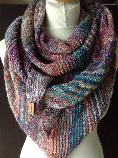 Purple Vintage Color-Block Cotton-Blend Scarves & Shawls