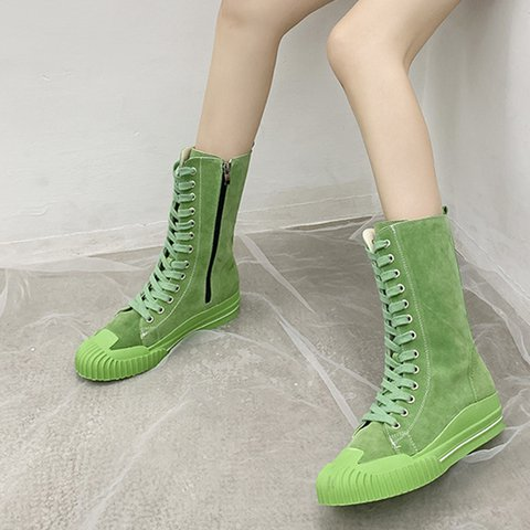 Women Round Toe Combat Boots Flat Heel Casual Lace-Up Shoes