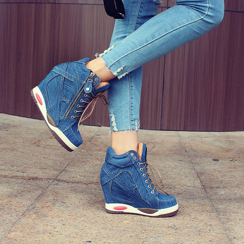 Women  Jean Sneakers Casual All Season Lace-Up Shoes