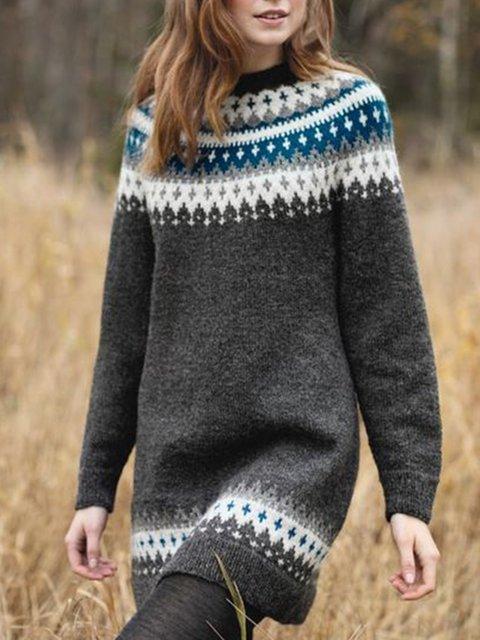 Women Crew Neck Vintage Tunic Sweaters