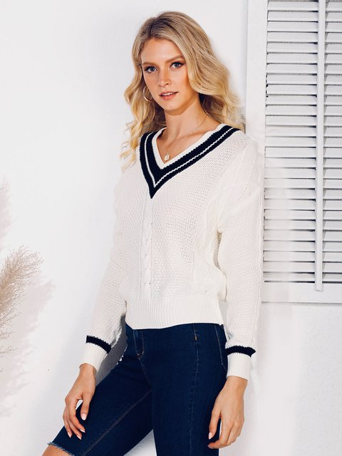 Casual Abstract Long Sleeve Sweater