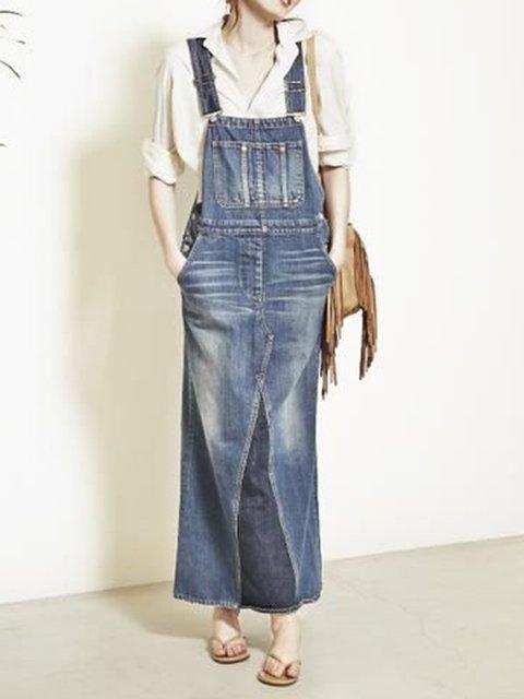 Denim Pocket Solid Overall Dress