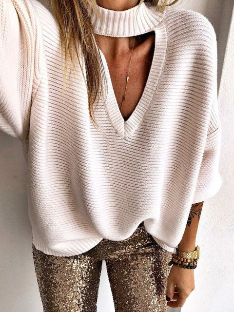 Plain Crew Neck  Long Sleeve Sweaters