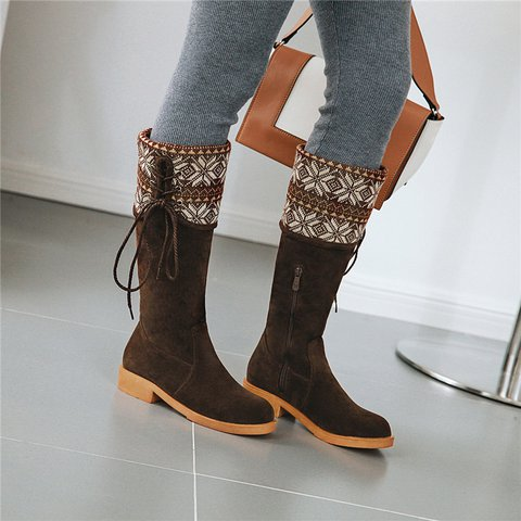 Womens Faux Suede Low Heel Zipper Casual Boots