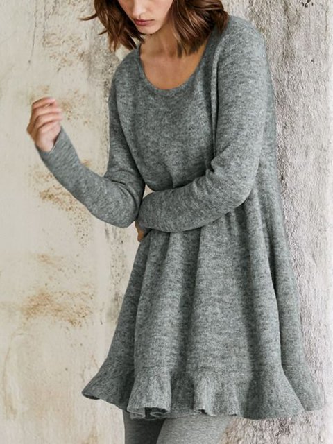 Gray Casual A-Line Cotton-Blend Sweater