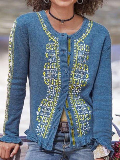 Plus Size Knitted Cardigan Boho Crew Neck Sweater