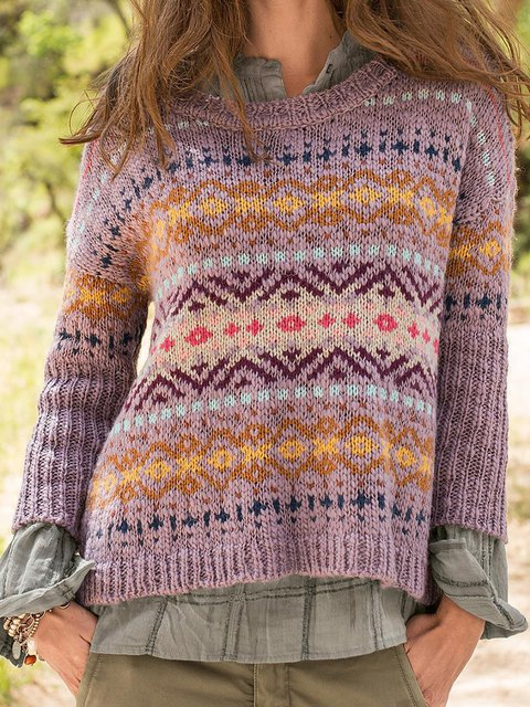 Plus Size Boho Sweater Crew Neck Knitted Tops