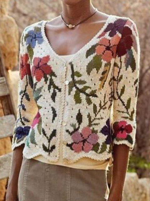 Beige Paneled Long Sleeve Crew Neck Cotton-Blend Sweater