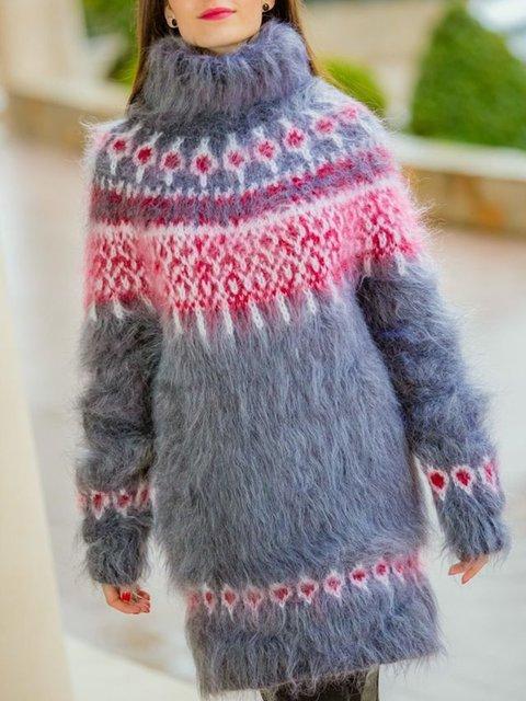Gray Geometric Cotton-Blend Jacquard Casual Sweater