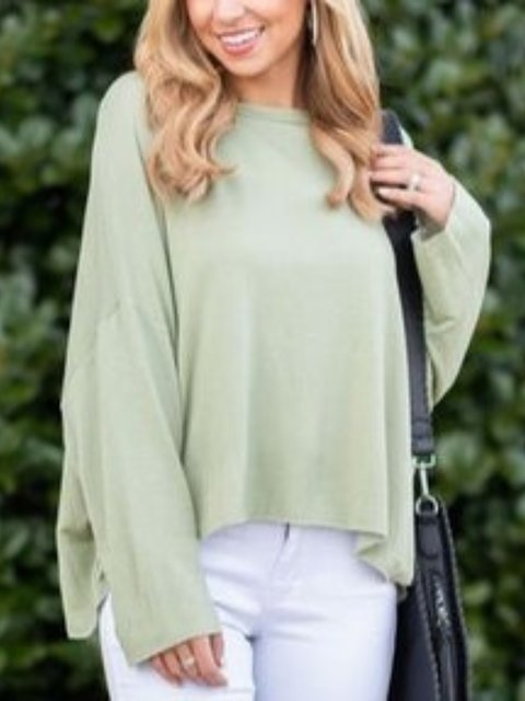 Long Sleeve Round Neck Solid Shirts & Tops