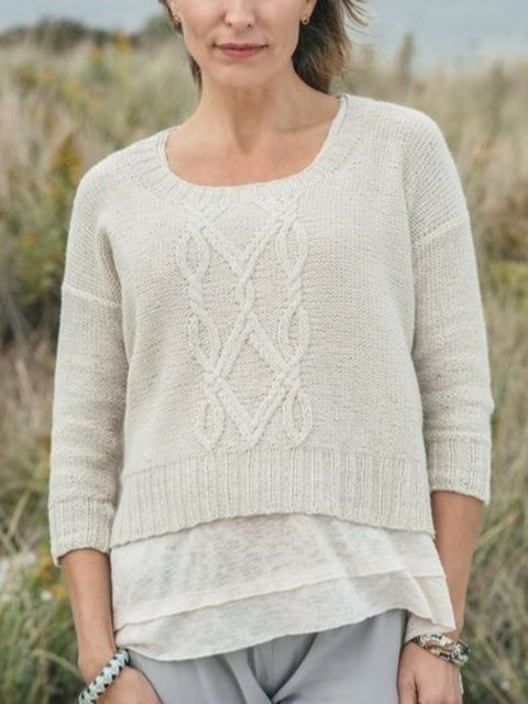 Knitted Crew Neck Long Sleeve Shirts & Tops