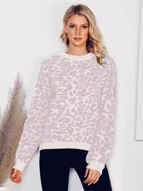 Leopard Print Long Sleeve Shift Casual Sweater