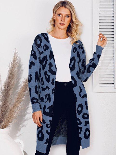 Knitted Long Sleeve Shift V Neck Sweater