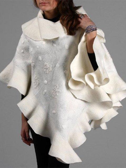 Beige Cowl Neck Plain Cotton-Blend Vintage Outerwear