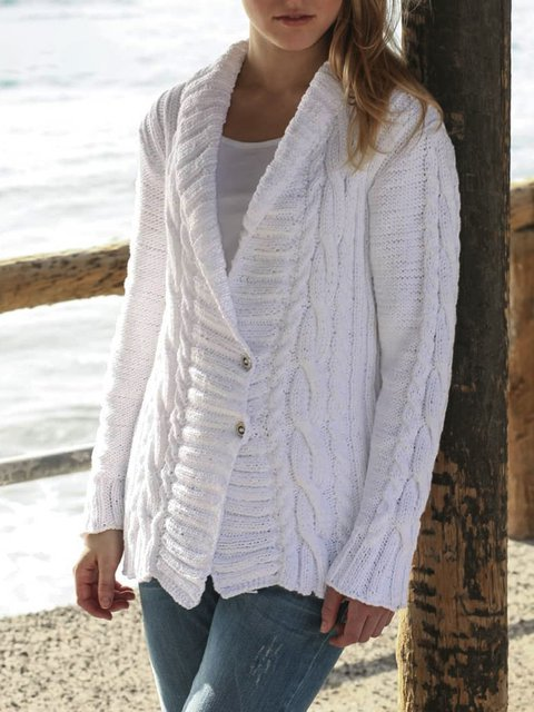 Solid Buttoned Shawl Collar Long Sleeve Sweaters