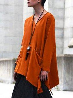 Cotton-Blend Plain Casual Shift Shirts & Tops