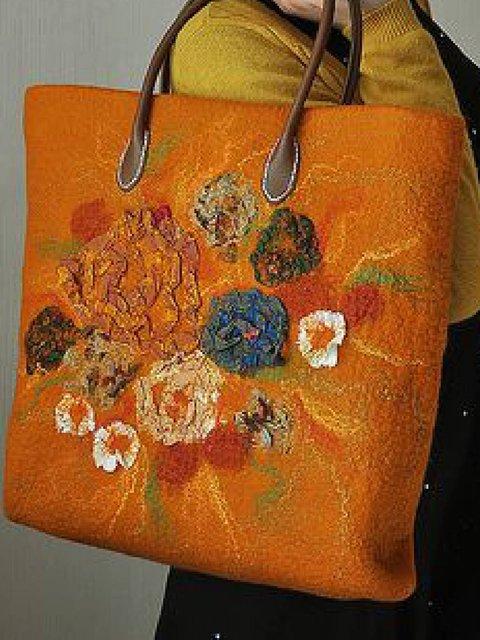 Orange Zipper Retro Faux Leather Shoulder Bags