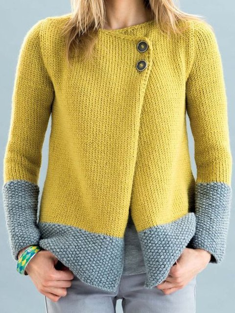 Plus Size Solid Cardigan Women Crew Neck Sweater