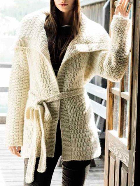 Plus Size Solid Cardigan Shawl Collar Outerwear