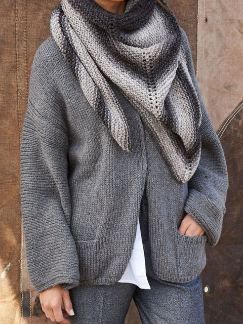 Plus Size Solid Sweater Pockets Knitted Cardigan
