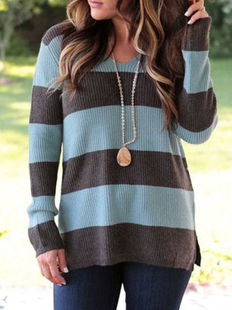Knitted Crew Neck Holiday Stripes Long Sleeve Sweater