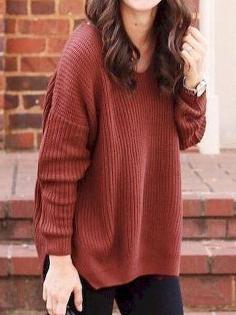 Knitted Long Sleeve Holiday Crew Neck Cotton Sweater