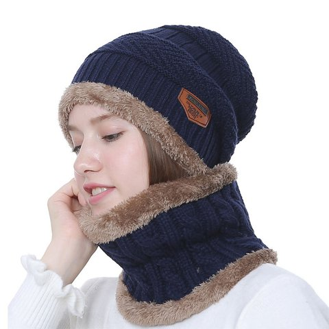 Unisex Knitted Fleece-lined Hat Collar Suit