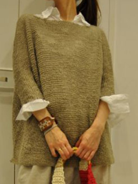 Cotton Solid Knitted Long Sleeve Sweater