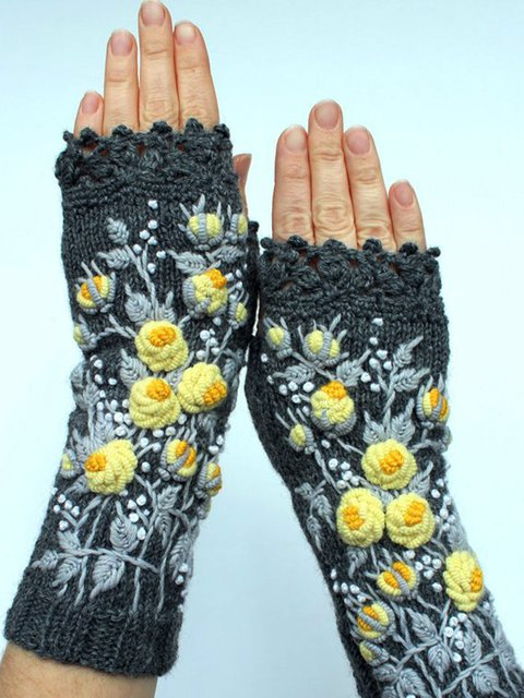 Jacquard Floral Cotton-Blend Gloves