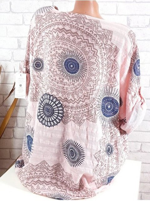 Plus Size Tribal Print Women Summer Blouses