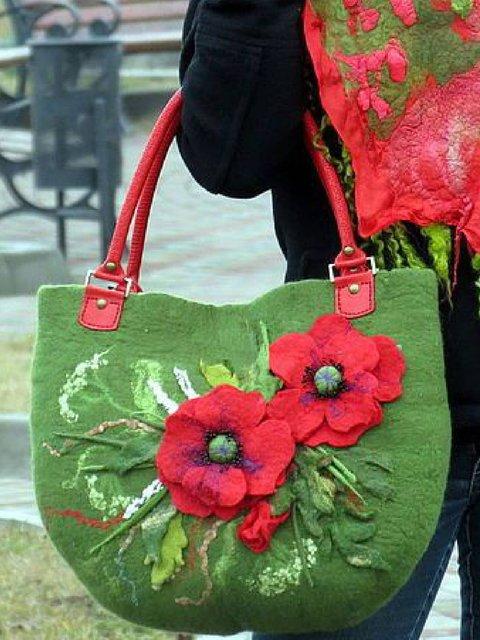 Green Zipper Cotton Shoulder Bags
