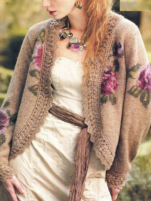 Khaki Floral Casual Outerwear