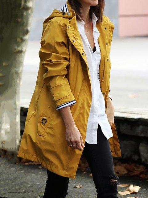 Waterproof Hooded Jacket Plus Size Long Trendcoat Raincoat Outerwear