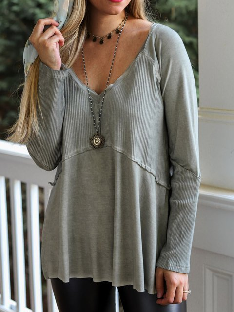 Gray Vintage Cotton-Blend Shirts & Tops