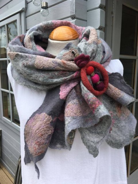 Multicolor Vintage Abstract Jacquard Mohair Scarves & Shawls