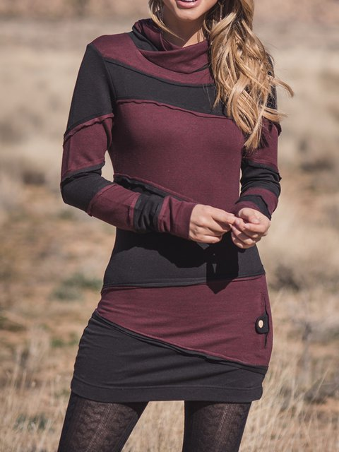 Casual Patchwork Cowl Neck Long Sleeve Tops