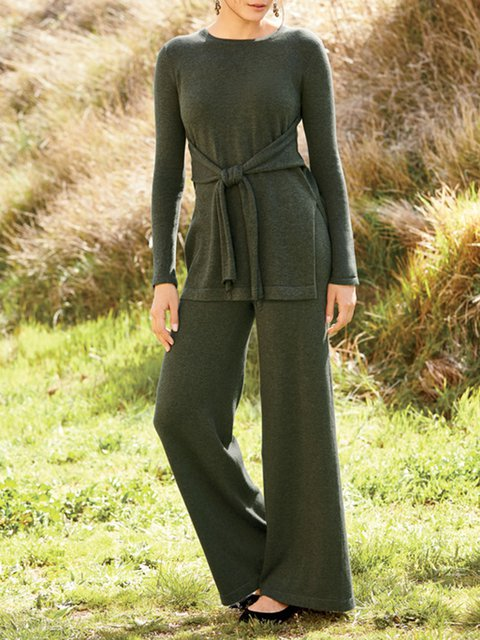 Army Green Paneled Crew Neck Long Sleeve Plain Suits